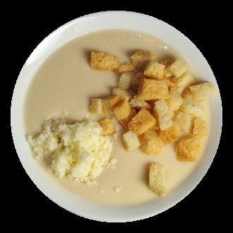 Суп-пюре куриный с сыром и гренками
